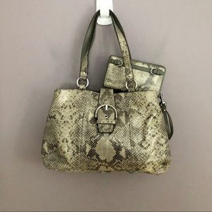 COACH Snakeskin Soho Satchel With Matching Wallet